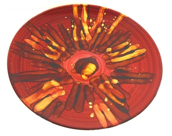 "Vintage Art Glass Charger, Red and Gold Design, 15 1/2"", Absolutely Stunning!"