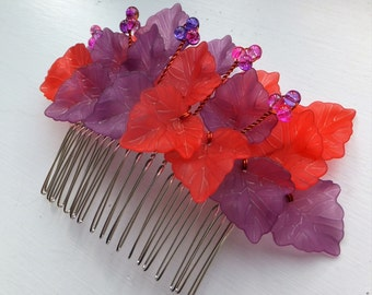 Leaf hair comb, Red hair comb, Festival hair comb