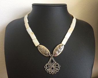 Triple Charm Edelweiss and Mother of Pearl Necklace