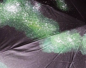 Hand-painted Space Umbrella (black/green)