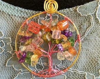 Multi-coloured Semi Precious Stone Tree of Life Pendant Wire Necklace
