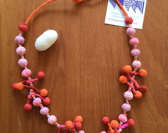 "Necklace ""GRAPE"". Cotton | Handmade | Orange"