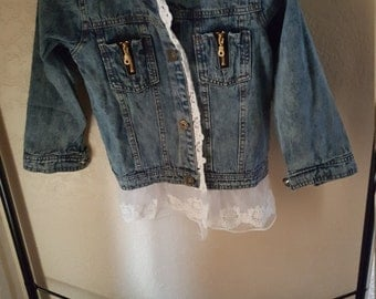 Little girls Jean jacket with lace trim