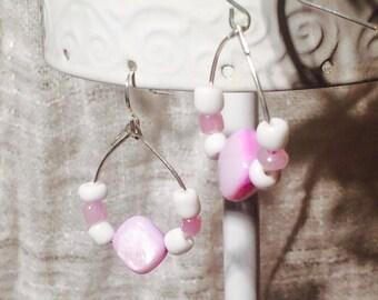 Lavender Center Dangling Hoop Earrings