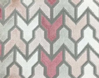 Upholstery Fabric - Rocket - Rosequartz - Geometric Pattern Cut Velvet Upholstery & Drapery Fabric by the Yard - Available in 14 Colors