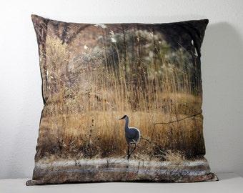 """16""""x 16"""" Decorative Pillow Cover with Bosque del Apache Solitary Crane Photo Print"""