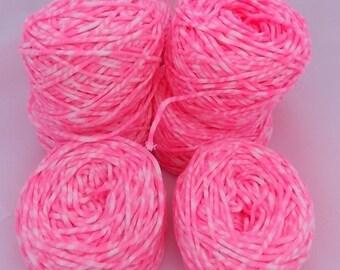Neon pink yarn, knitting yarn, crochet yarn, tube yarn, yarn lot, cheap yarn, cotton yarn, light yarn, DK yarn, light worsted yarn, pink