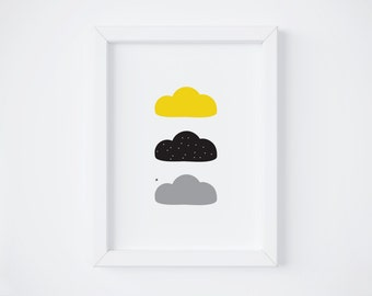 Clouds - black, yellow & grey