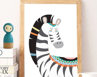 Tribal animals art prints, Set of 4 prints, zoo nursery printable, kids room decor, minimalist black poster,  children prints instant