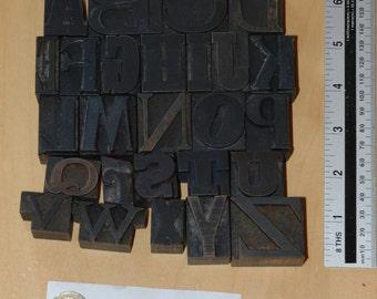 Vintage alphabet letterpress wood type a-z letters mixed font antique FF009