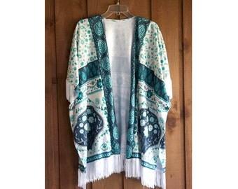 Boho silk fringe shawl