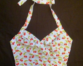 Cherries Print Rockabilly/ Pinup Halter Top S, M, L, XL