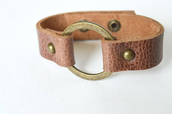 Women's Genuine Leather Cuff With Metal Ring:  Joanna Gaines Inspired Leather Ring Bracelet