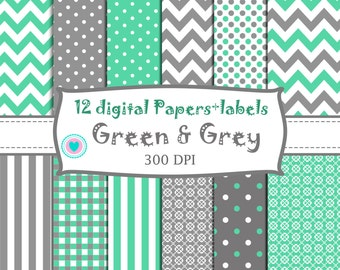 12 DIGITALS PAPER + LABELS green and grey - mint and grey