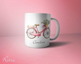 Personalised retro Bicycle mug
