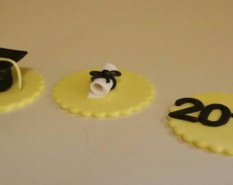 Fondant Graduation Cupcake Toppers