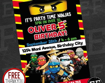 Lego Ninjago Birthday Party Invitation, Digital printable DIY Birthday Invitation, Lego Ninjago Invite, Lego Birthday Party