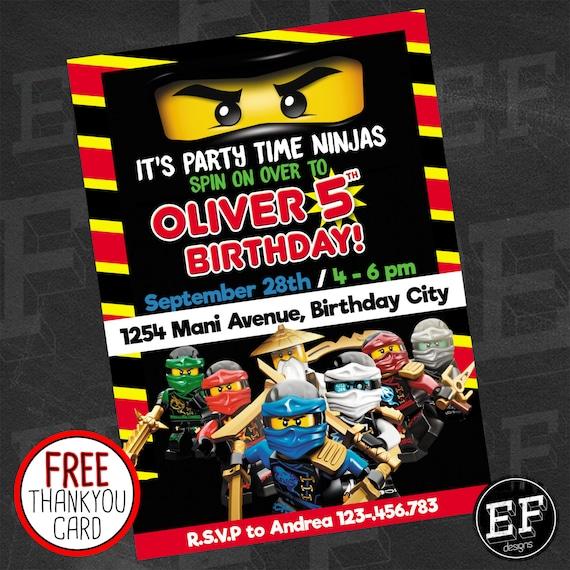 A Lego Ninjago Birthday Party: Lego Ninjago Birthday Party Invitation Digital Printable DIY