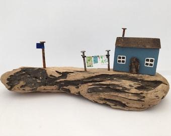 Driftwood Seaside Cottage Scene, Blue Rustic Ornament