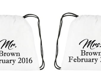 Mr. and Mrs. wedding gift newlyweds gift drawstring backpacks Just Left us know the month and last name in a massage