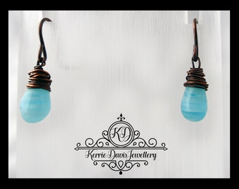 Hand Crafted Wire Wrapped Bare Oxidised/Antiqued Copper Earrings with Black Glass