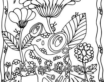 Happy Froggie, 1 Adult Coloring Book Page, Printable Instant Download