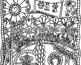 5 pages, Happyville Coloring Pack #4 , 5 Adult Coloring Book Pages, Printable Instant Download