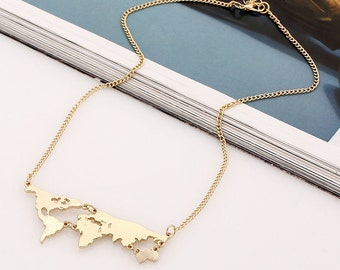 World Map Necklace, Travel Necklace, Gold, Jewelry
