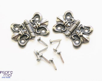 antique silver butterfly hinges with fasteners 1 pair large 40mm x 38mm decorative - Decorative Hinges