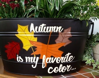 Fall Autumn Decor Planter, Hand Painted, Indoor/Outdoor, Storage, Container