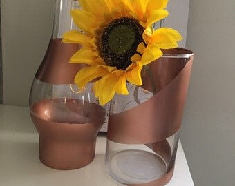 Gold/copper stripped vases and candle holders