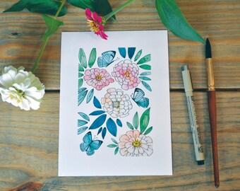 Floral Watercolor zinnias and butterflies print 5x7, watercolor flowers, floral watercolor, watercolor butterfly, blue butterflies, nursery