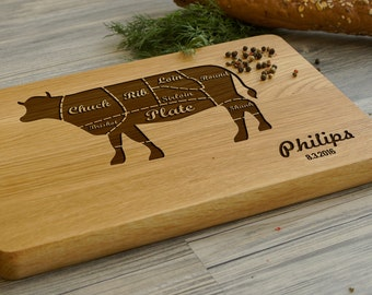 Custom Cutting Board, Personalized Cutting Board, Engraved Beef Cuts Cutting Board, Engraved Cutting Board, Cuts of Meat, Gift for Him