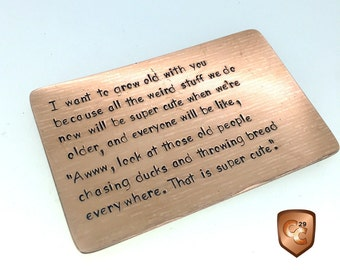 Bronze Wallet Insert Card, Boyfriend Gift, 8th Anniversary Gift, Husband Gift, Personalized, Lil Wayne, 7th Anniversary