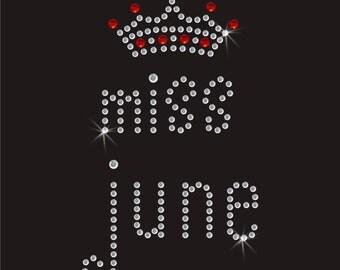 Birthday Miss June Diamante Motif Rhinestone Transfer