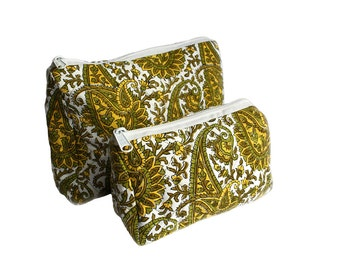 Wood-Block Printed Paisley Toiletry w lined interior and zipper