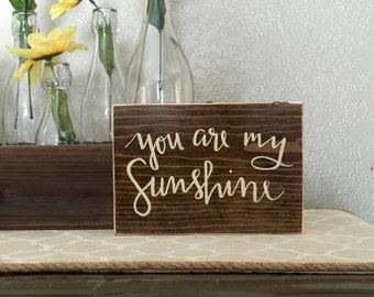 """You Are My Sunshine Hand Painted Sign. Wooden Sign 5x8"""". Home Decor. Nursery Decor. Wood Block."""
