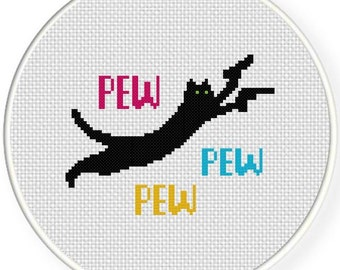 PEW PEW Cat Digital Cross Stitch Pattern in PDF. home and living