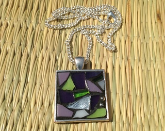 Purple Stained Glass Mosaic Pendant Necklace/Mosaic Necklace/Purple and Green Necklace/Mosaic Jewelry/Abstract Necklace/Boho Necklace/P66