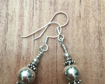Sterling Silver, Bali, dangle, Earrings