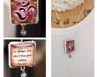 Charm/Yoga /Two Sides Unique/Dalai Lama/Inspirational/lotus flower/Om/Quote/Inspiring/Soldered/Necklace/Ball Chain//Gift/Perfect Gift