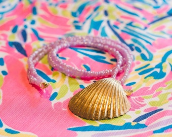 Pink Beaded Gold Scallop Seashell Necklace