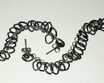 Double Piercing Earrings with Attached Individual Chain Links