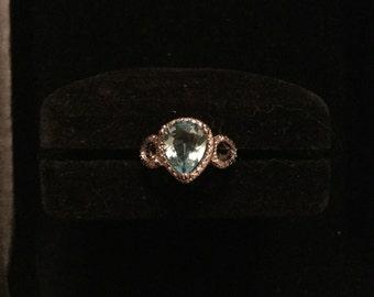 Blue teardrop ring