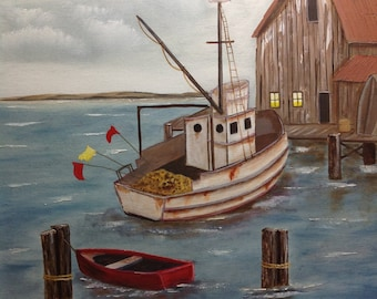 Old fishing boat at the dock, original oil painting, wall art home decor