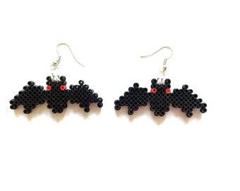 Halloween Bat Perler Bead Earrings, Perler Bead, Halloween, 8 bit, Perler, 8 Bit Earrings, 8 bit Jewelry, Bat, Clip on, Pixel, Pixel Jewelry