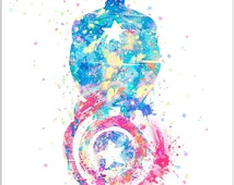 Captain America Watercolor Poster Print