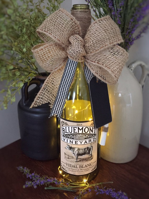 Cow Decor/Wine Bottle Decor/Cordless Light /Recycled Glass Lamp/Country Home Decor/Virginia Wine/Burlap Bow/Wine Lover Gift/Black Tag