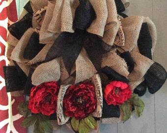 Bow technique 2 color burlap wreath with peonies