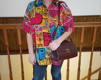 Bright vintage 80s button up shirt geometric floral